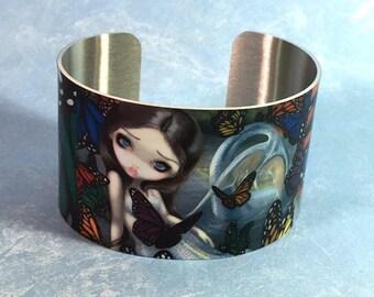 Halcyon mermaid metal cuff bracelet from Jasmine Becket-Griffith Art butterfly butterflies mermaid water fairy