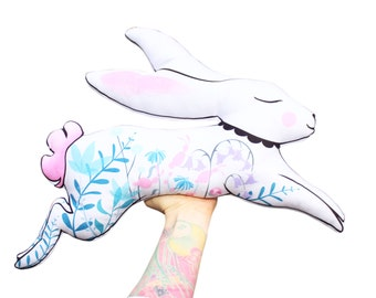 DIY KIT - VARIED colours - Bunny cushion softie plush floral - throw pillow - rabbit hare illustrated nursery decor stuffing not included