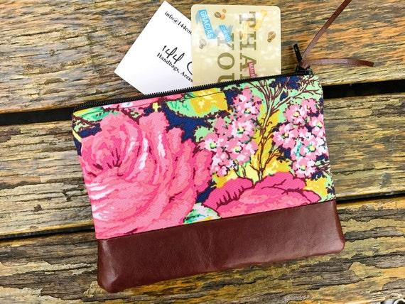 Floral Blue Leather Pouch, Change Wallet, Womens Floral Wallet, Small Wallet, Blue Pouch, Leather Coin Purse