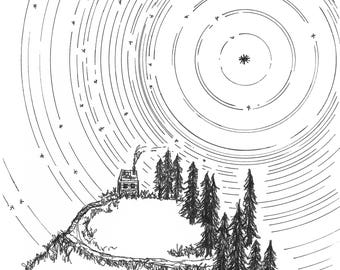 Star trails - Washington Mountain Home - Giclee Print