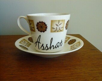 Asshat hand painted vintage china teacup and saucer set recycled humor tea party display decor SALE