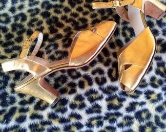 Vintage 1950s Shoes Gold Peep Toe 50s Dance Shoes US5.5 2014414