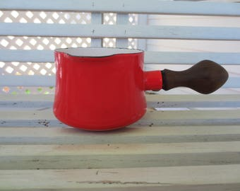 Red Enamelware Butter Warmer / Small Pot by Dansk with Wooden Handle