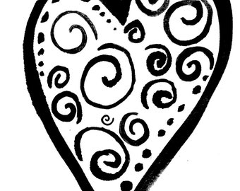 Swirly heart LARGE Red Rubber Stamp-Original design 01401, heart rubber stamp, valentines rubber stamp, love rubber stamp