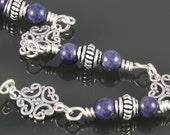 CLEARANCE. Genuine Sapphire Bracelet. Sterling Silver Filigree. September Birthstone. Adjustable Bracelet. Size Large. f13b001