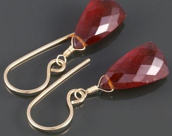 Red Garnet Earrings. Gold Filled Ear Wires. Triangle Shape. Genuine Gemstone. January Birthstone. Goldfill Earrings. Gift for Her. f16e224