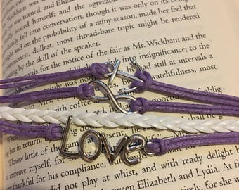 4 strand bracelet in purple and white Love Infinity Anchor