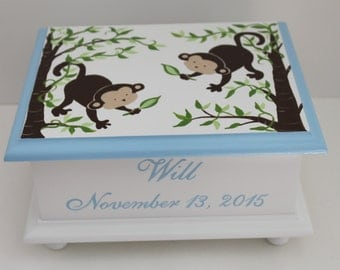 Baby keepsake box - baby memory box Blue monkey personalized baby boy gift hand painted baby shower gift