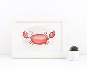 Charming Crab - Watercolor Art Print 8x10