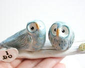 Personalised Owl Wedding cake topper-Owl Cake topper-Clay Owl-Owl wedding cake topper -Owl Figurine-Owl Sculpture -Handmade Owl