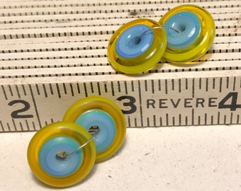 Handmade lampwork matching pair rondelle disc beads - Turqiose and Yellow