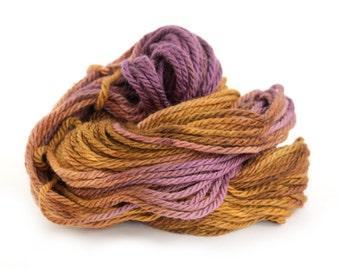 Handdyed chunky wool, bulky superwash merino yarn, knitting crochet Perran Yarns, Copper Plum, uk seller, yarn skein hank, purple brown
