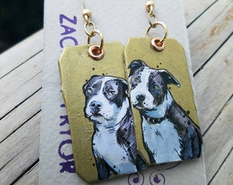 Gray and White Pitbull hand-painted dog earrings - Gold leaf