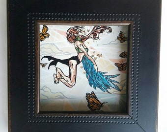 Queen Ester and Monarch butterfly painting - stained glass and comic book inspired original art - Ester Flies High