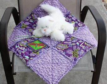 Plum Pet Bed, Pet Bedding, Pet Accessories, Fabric Pet Blanket, Travel Pet Blanket, Pet Stroller Quilt, Cat Blanket, Bedding for Pets