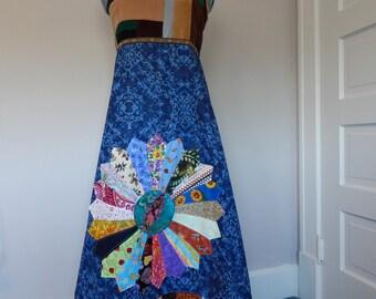 Grateful Dead Mandala, Patchwork Festival Dress, Halter Sun Dress, Full Length Dress, Festival Clothes Maxi Dress Corset Dress Apron Dress