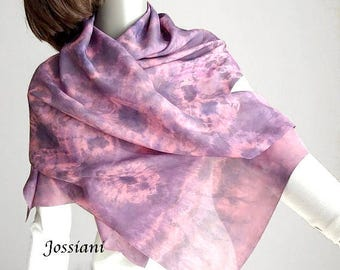 Shibori Tie Dye Fabric or Scarf Hand Dyed Silk Habotai, Lavender Mauve Purple Plum Pink, One of a Kind Artisan Wrap Handmade, Jossiani