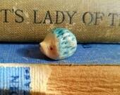 Miniature Ceramic Porcelain Hedgehog Baby Handmade Blue for Heddloom