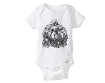 SHIH TZU dog embroidered Baby Girl Boy Onesie, embroidered onepiece, baby undershirt, unisex baby, personalized onesie, custom onesie