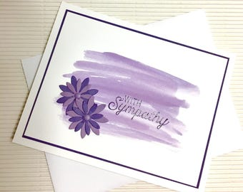 Condolence/sympathy card set (10) handmade stamped heat embossed dimensional paper flowers embellished ink wash stationery greeting home