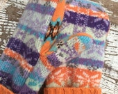BLACK FRIDAY SALE- Fair Isle Mittens- Mittens-Orange and purple-Teen-Women