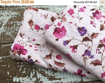 40% OFF- Vintage Floral Fabric-  Reclaimed Vintage Bed Linens Fabric-Pink