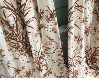 Vintage Drapery Curtains-Black Out Drapes-Brown Meadows