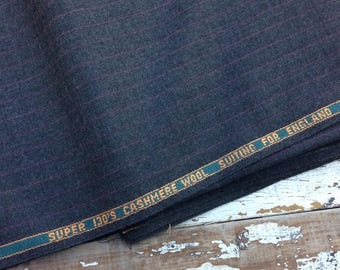 40% OFF- Cashmere Wool Fabric-Gray Pinstripe-130s-Suiting for England