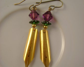 Fat Tuesday Morning - Vintage Gold Plated Pen Nibs Swarovski Crystal Mardi Gras Colors Recycled Repurposed Jewelry Earrings