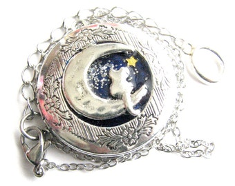 Cat necklace, Cat Locket Necklace, long distance friends, Galaxy necklace, Cat Lover Gift, Personalized locket, Personalized Cat necklace