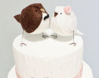 Woodland wedding cake topper lovebirds - chocolate brown and white