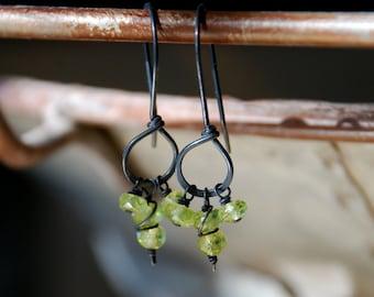 Frolic Earrings - Handmade. Peridot. Heavily Oxidized Sterling Silver
