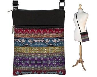 Small Crossbody Bag, Bohemian Bag, Cross Body Purse, Boho Fabric Handbags, Shoulder Bag, zippers Digital Turkish Tapestry Bag red purple RTS