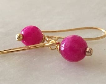 Hot Pink Jade Earrings, Fuchsia Pink Earrings, Jade Earrings, Gold Vermeil Fuchsia Earrings