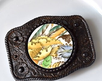Simple Circle Recycled China Belt Buckle - Yellow Floral