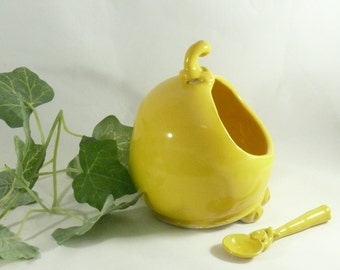 Yellow Salt pig holder and spoon - Handmade Ceramic French Salt Cellar Keeper Dish - kitchen prep , Salt dish, sugar bowl