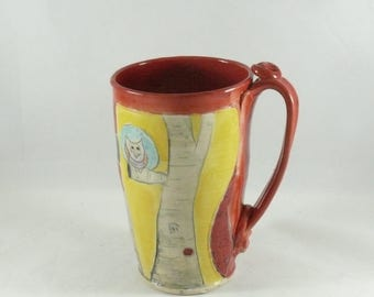 Handmade Ceramic Mug, Large Pottery Cup, Ceramic Teacup, Latte Mug, Cappuccino Cup, Ceramics and Pottery, Anniversary Gift, Gift for Men 703