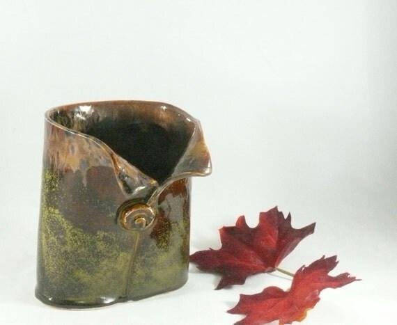 Pottery Soap Dispenser, office decor, ceramic desk accessories,  pencil holder, toothbrush holder, brown vase, dorm decor art vessel 577