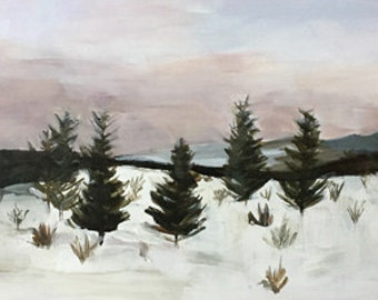 winter landscape, snow painting, modern art home design  painting evergreens