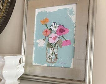 original flowers painting blue original painting on art paper 9x12 contemporary art