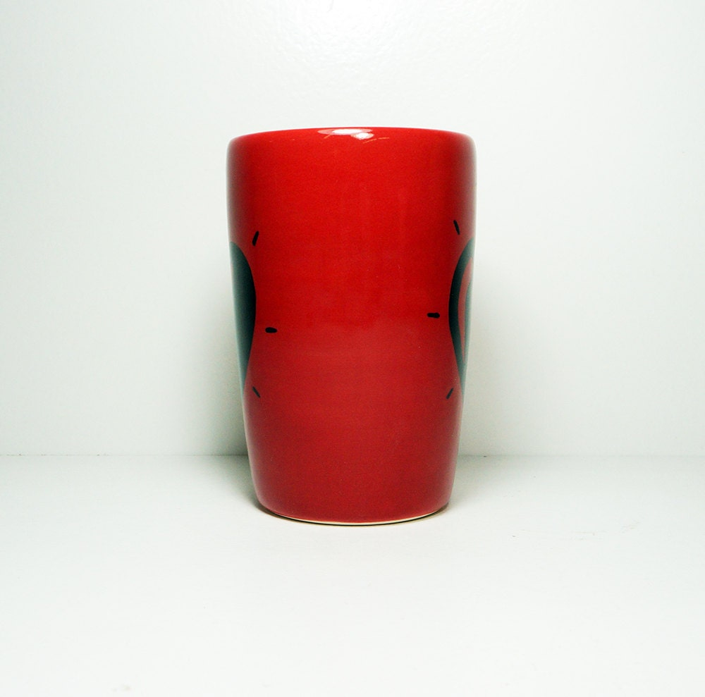 18oz tumbler or vase with a Heart Throb print shown here on Berry Red, Ready to Ship