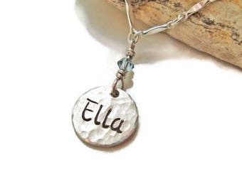 SILVER Charm Tag Hand Engraved and Personalized with Name of Your Choice on BOTH Sides with Birthstone, Mommy Necklace,  romanza jewelry