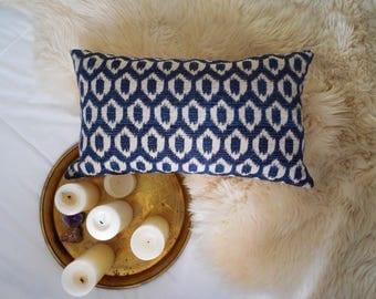 "Boho Decor Ikat Pillow Cover Navy Indigo Blue 14"" x 24"""