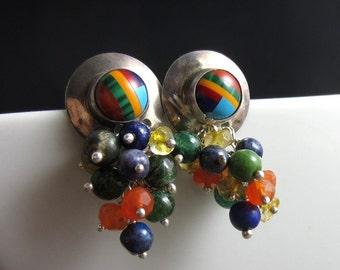 Confetti Drop Earrings - Sterling Silver Amalgam Earrings with Multistone drops