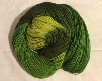 Handdyed Merino and Silk Sock Yarn EAT YOUR GREENS