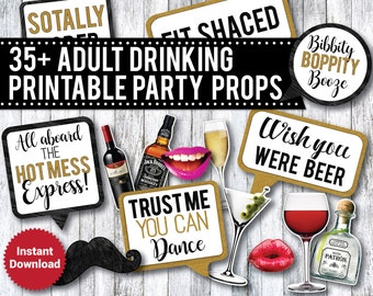 35 +  Adult Drinking Photo Booth Props, Liquor Photo Booth Props, 21st Birthday, Bachelorette party, Beer props, speech bubbles