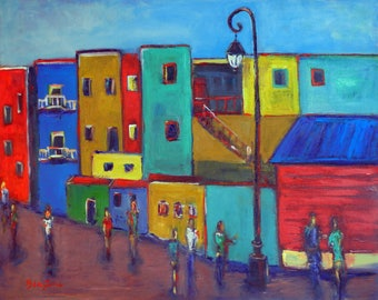 Buenos Aires LARGE Colorful Painting ORIGINAL Modern Art - Argentina - Yellow Teal Blue City Art on Large Canvas 30x24 - Pop Art by BenWill