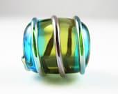 Large Hollow Barrel  Lampwork Glass Bead