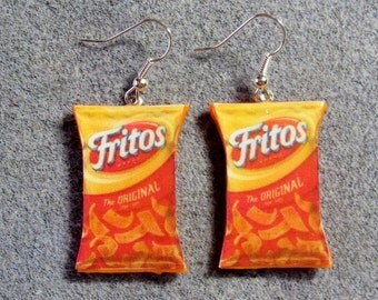 Fritos Corn Chips Kitsch Dangle Polymer Clay Junk Food Earrings Hypo Allergenic Nickle-Free