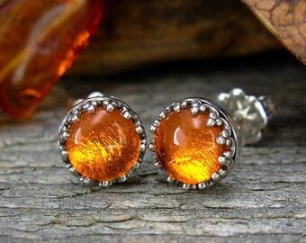 Amber  Earrings - Sterling Silver Post Earrings - Amber Studs